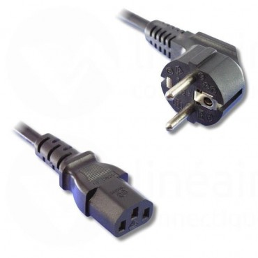 Bipole power cord with ground outlet - 3 pins